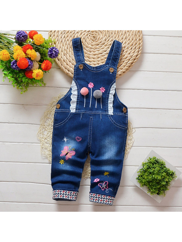 【12M-4Y】Cute Printed Blue Denim Overalls