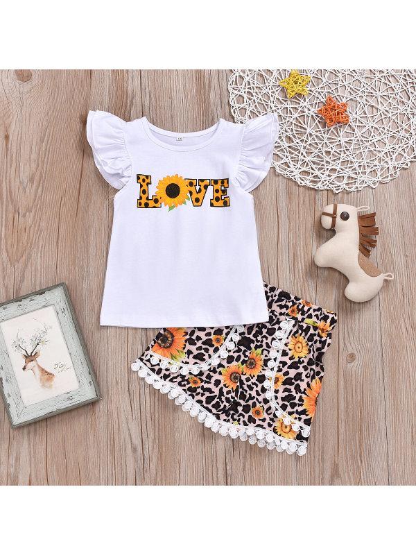 【18M-7Y】Girls Letter Print Short Sleeve Top Leopard Print Shorts Set