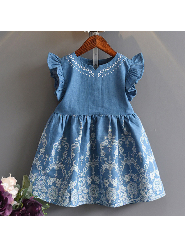 【18M-7Y】Sweet Flower Embroidery Round Neck Blue Dress