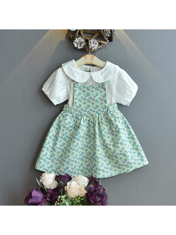 【18M-7Y】Girls Doll Collar Short Sleeve Top Floral Suspender Skirt