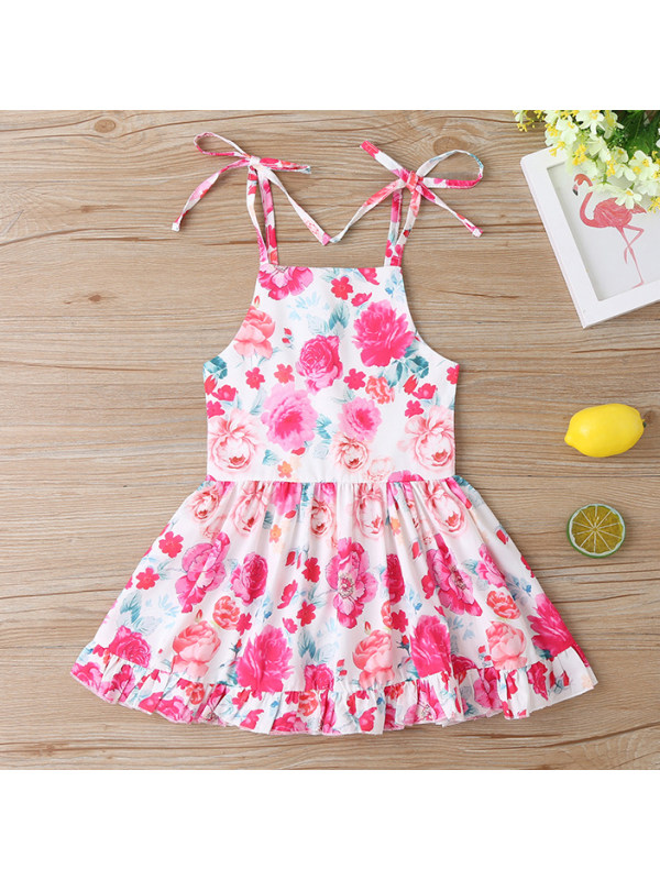 【12M-5Y】Sweet Pink Rose Print Sling Dress