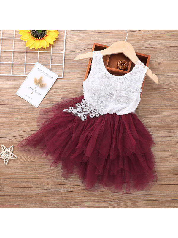 【18M-5Y】Girls Sweet Lace Mesh Stitching Short Sleeve Princess Dress