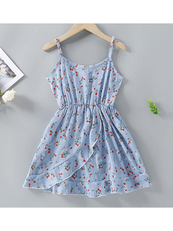 【4Y-13Y】Cute Flower Print Blue Sling Jumpsuit