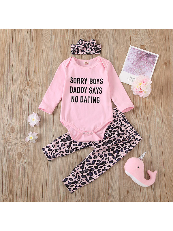 【6M-3Y】Girls' Letter Leopard Print Romper Suit