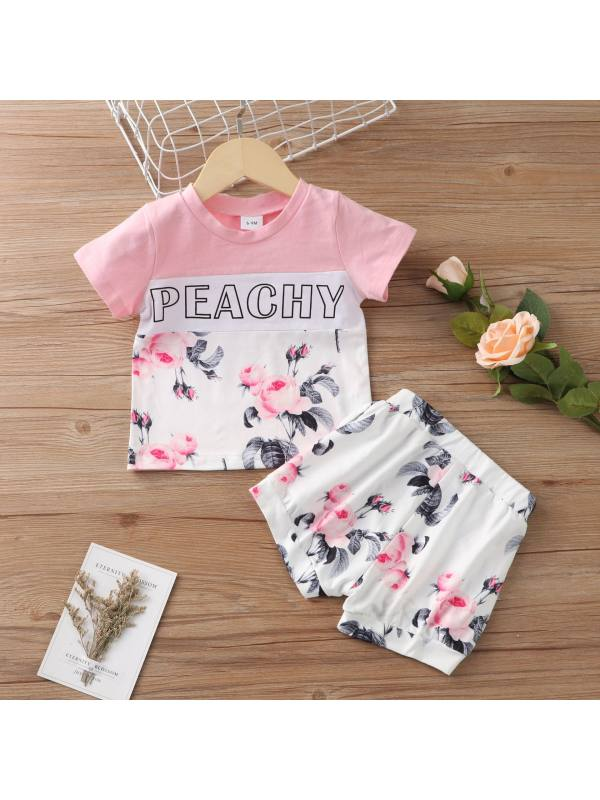 【3M-18M】Cute Letters and Flower Print Round Neck Short Sleeve T-shirt and Shorts Set