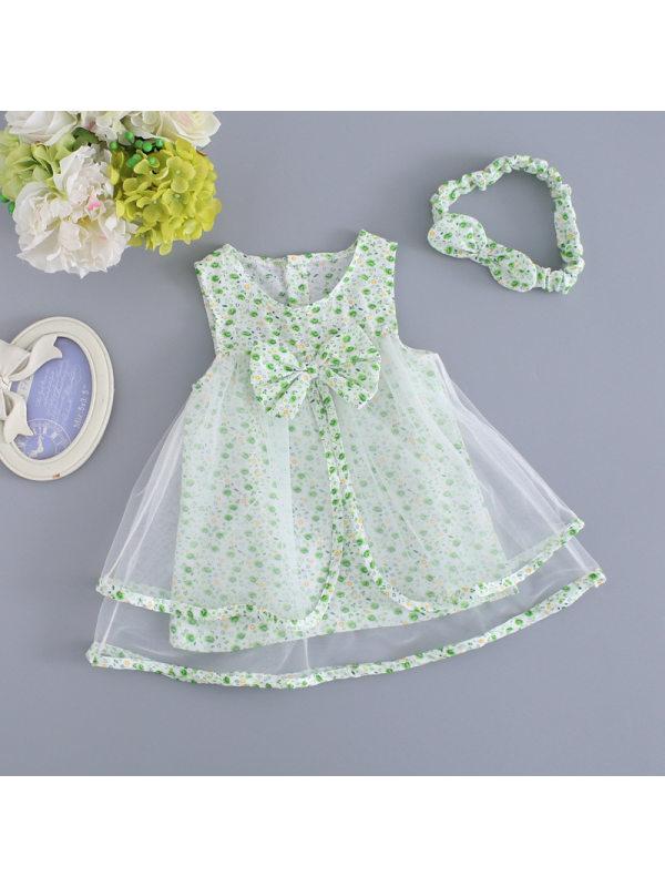 【0M-24M】Girls Fresh Sweet Bow Mesh Stitching Sleeveless Dress
