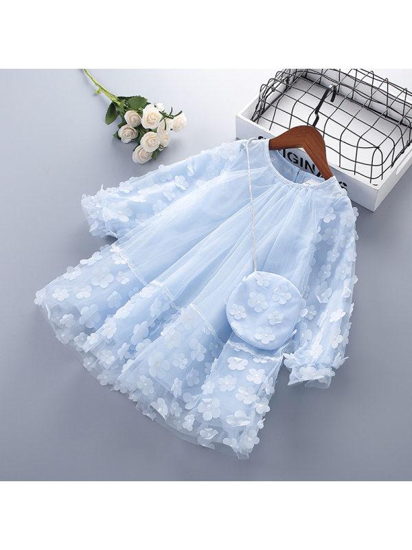 【2Y-9Y】Girls Sweet Mesh Flower Long Sleeve Dress With Bag