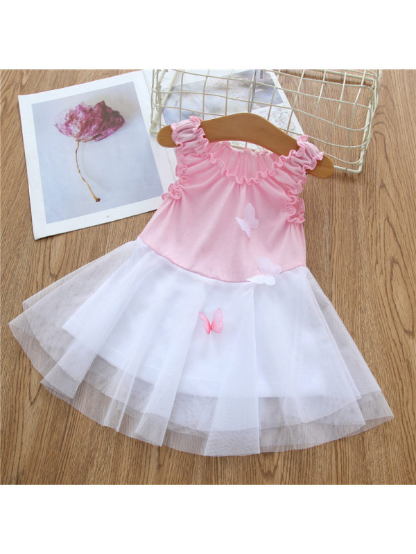 【0M-24M】Baby Girls Sweet Butterfly Sleeveless Mesh Stitching Dress