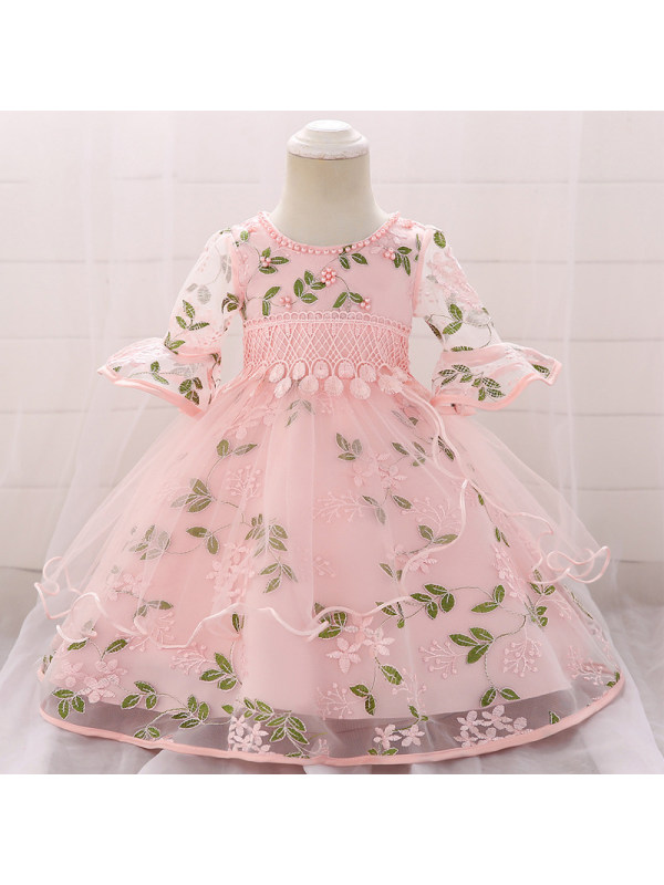 【6M-24M】Girls Sweet Flower Embroidery Trumpet Sleeve Princess Dress