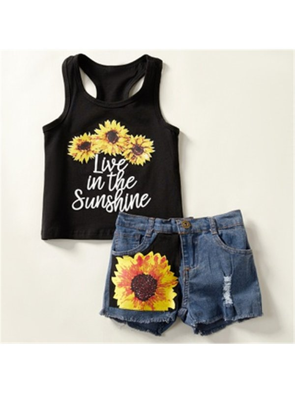 【18M-7Y】Girls Sunflower Letters Printed Casual Suit