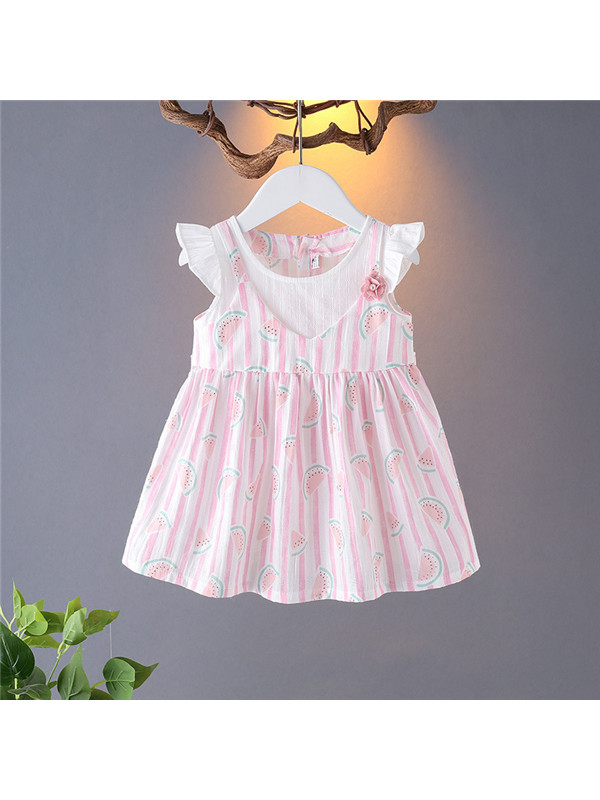 【12M-4Y】Girls' Little Flying Sleeve Floral Print Dress