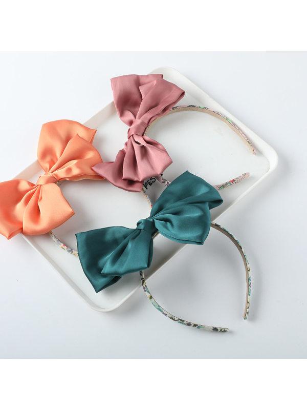 Girls Sweet Candy Color Simulation Silk Big Bow Headband