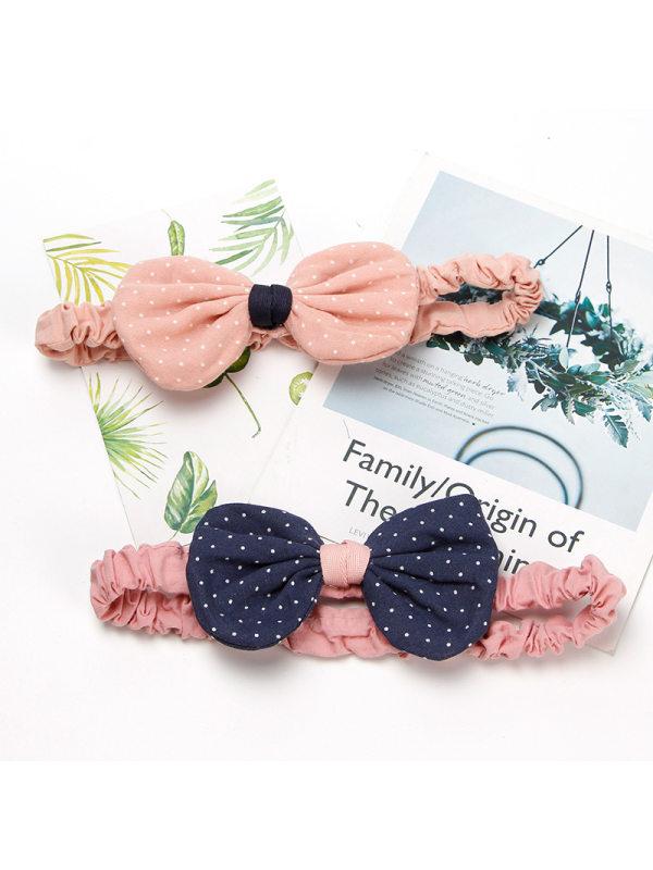 Girls Simple Polka Dot Bow Headband Hair Accessories