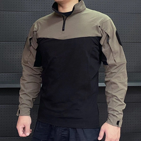 Men's outdoor sports stand-up collar stitching long-sleeved T-shirt top