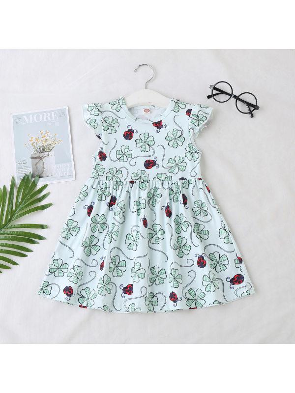 【12M-5Y】Girls Casual Cute Four-leaf Clover Print Sleeveless Dress - 3373