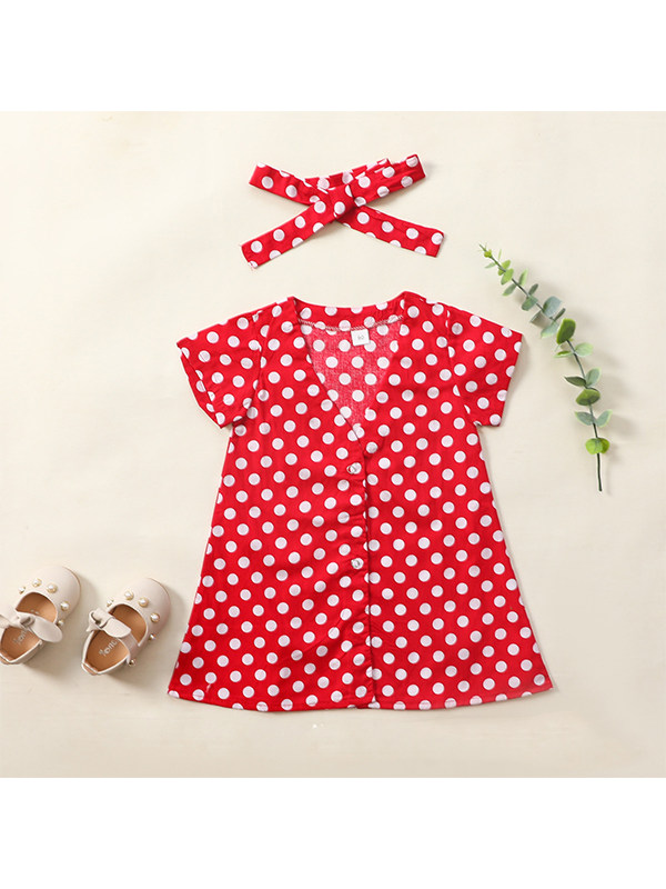 【12M-5Y】Girls Sweet Polka Dot Print Red Jumpsuit Group