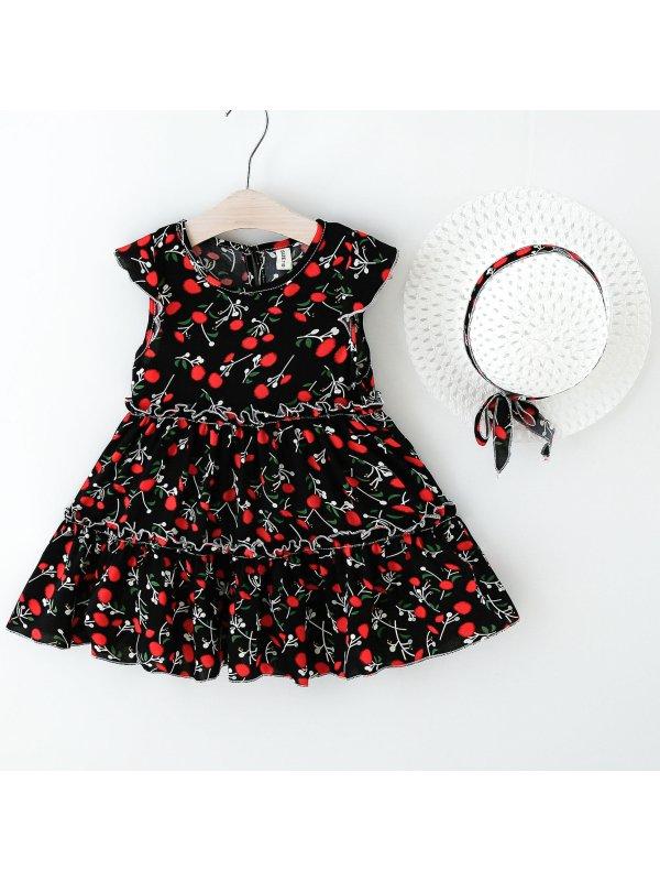 【2Y-7Y】Sweet Flower Print Round Neck Dress With Hat