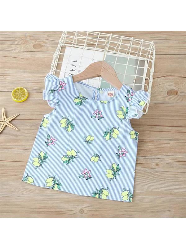 【90-130cm】Girls Lemon Striped Sleeveless Vest Shirt