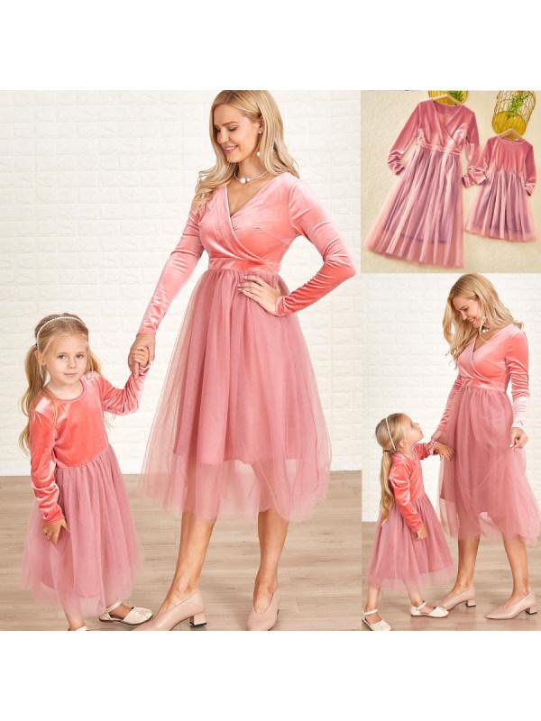 Classic Pink Velvet Mesh Long Sleeves Mom Girl Matching Dress