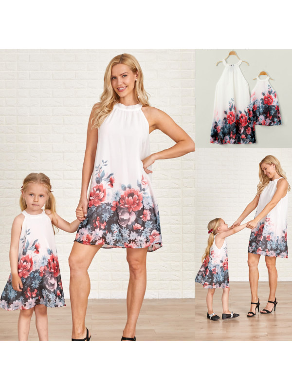 Sleeveless Print Mom Girl Matching Dress - 1373