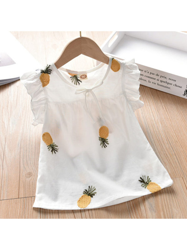 【18M-9Y】Girls Sweet Cute Pineapple Embroidery Lace Sleeve T-Shirt
