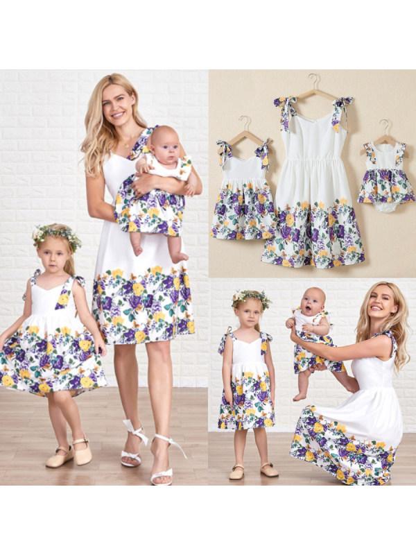 Flower Pattern Suspender Mom Girl Matching Dress