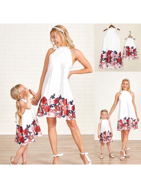 Halter Flower Printed Mom Girl Matching Tank Dress - 1369