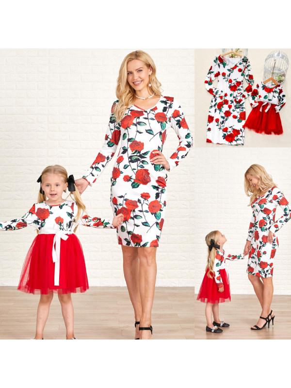 Long Sleeve Red Rose Printed Mesh Stitching Mom Girl Matching Dress