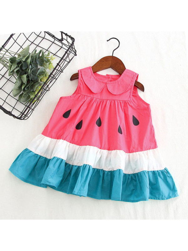 【18M-7Y】Girls Cute Contrast Stitching Doll Collar Sleeveless Dress - 3387
