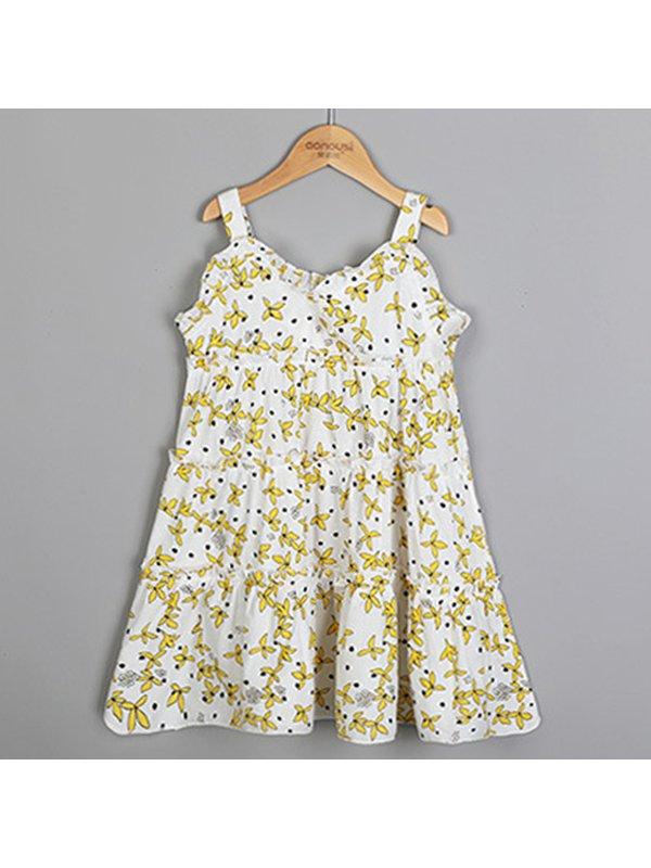 【3Y-13Y】Girls Floral Print Holiday Sling Dress