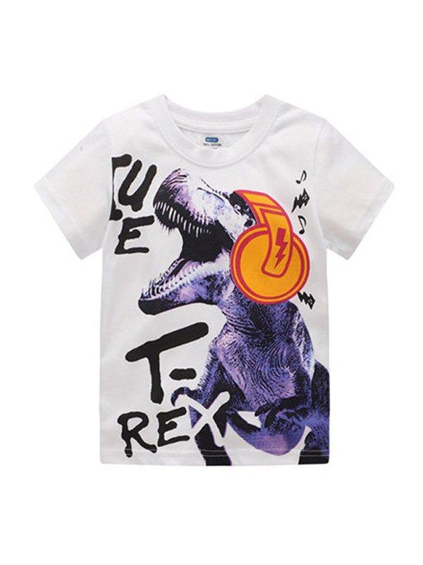 【18M-9Y】Boys Dinosaur Print Short Sleeve T-shirt