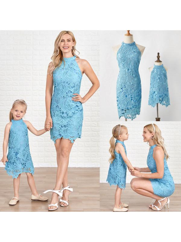 Sweet Blue Lace Off Shoulder Mom Girl Matching Dress