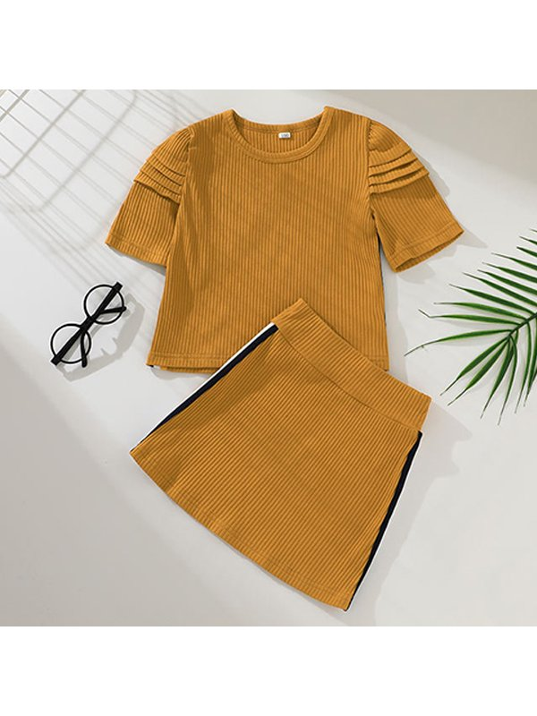 【12M-5Y】Girls Round Neck Short Sleeve Hole Striped Top with Half-length Short Skirt Two-piece Suit