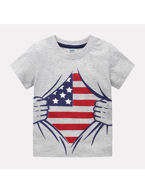 【18M-9Y】Boys Print Short Sleeve T-shirt