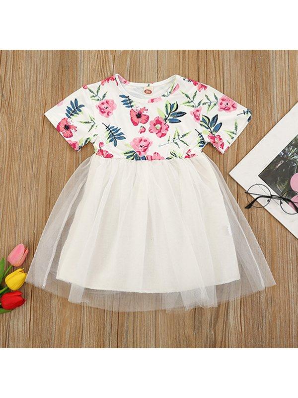 【18M-7Y】Girls Round Neck Short-sleeved Flower Stitching Mesh Dress