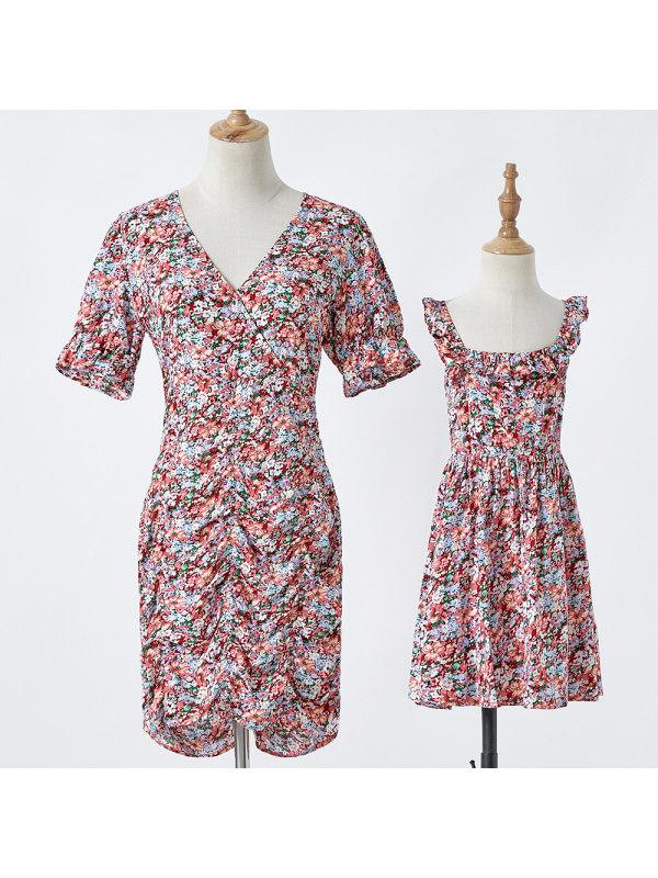 Flower Print Mom Girl Matching Dress - 1348