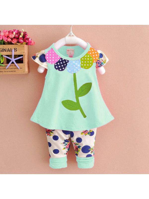 【12M-7Y】Girls Leaf Short Sleeve T-Shirt Polka Dot Flower Pants Set