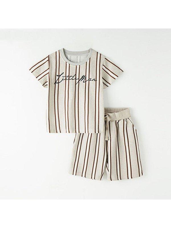 【18M-9Y】Boys Short Sleeve Striped Suit