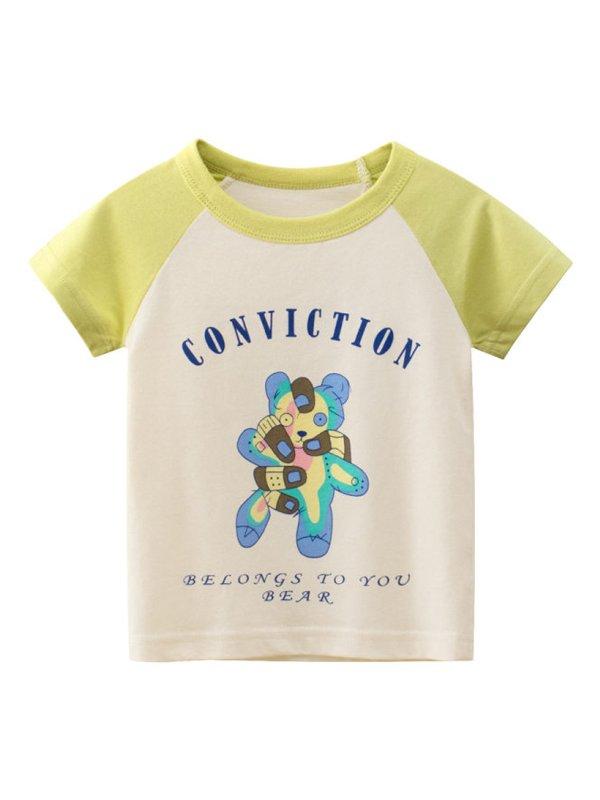 【18M-9Y】Boys Stitching Color Cartoon Print Short Sleeve T-shirt