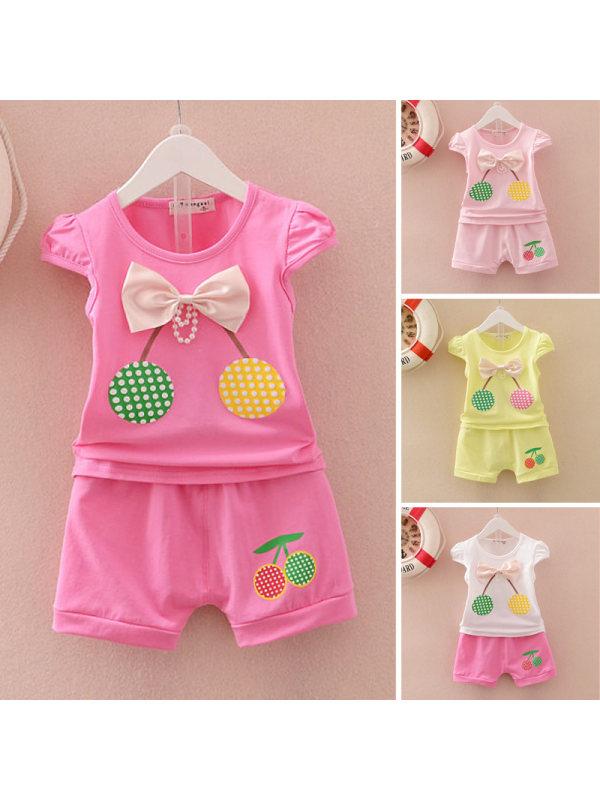 【6M-3Y】Girls Cute Sweet Bow Cherry Short Sleeve T-Shirt Shorts Set