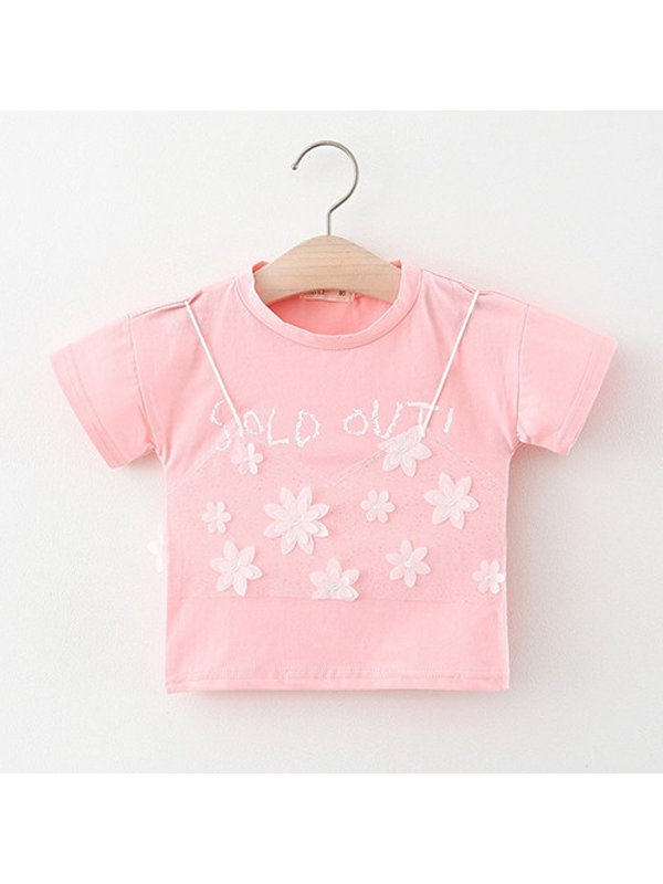 【6M-4Y】Girls Round Neck Short-sleeved Floral Letters Printed T-shirt
