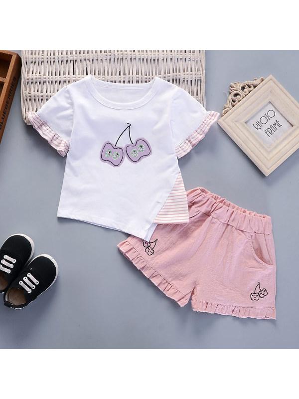 【12M-4Y】Girls Sweet Cute Short-sleeved Top Shorts Suit - 3447