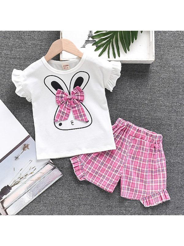【12M-4Y】Girls Cute Rabbit Bow Short-sleeved T-shirt Plaid Shorts Set