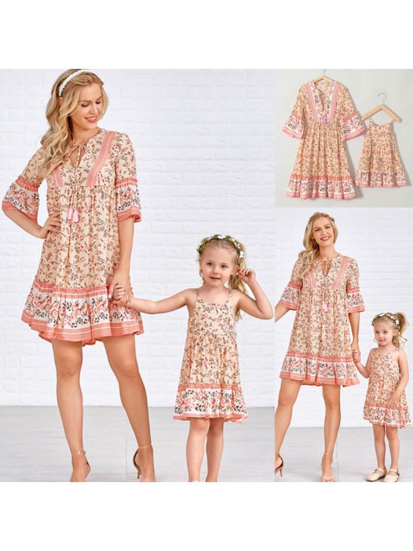 Fashion Half Sleeve Bohemian Floral Mom Girl Matching Dress