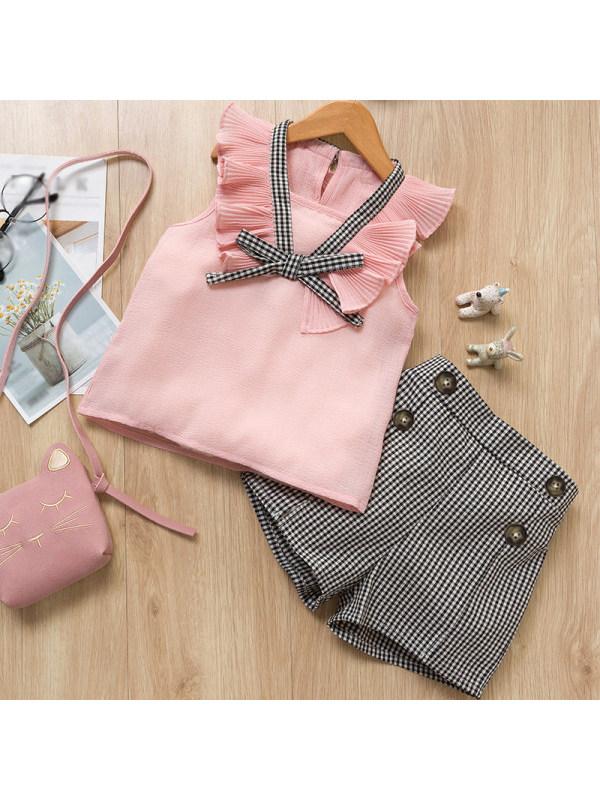 【18M-7Y】Fashion Sleeveless Ruffled Splicing Plaid Suit