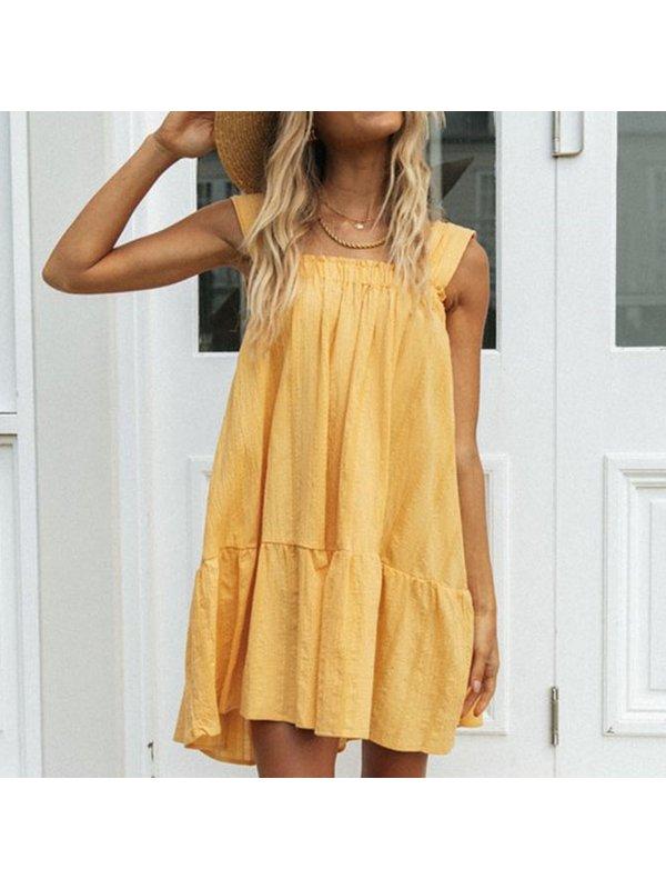 Lace-Up Skirt And Big Hem Dress