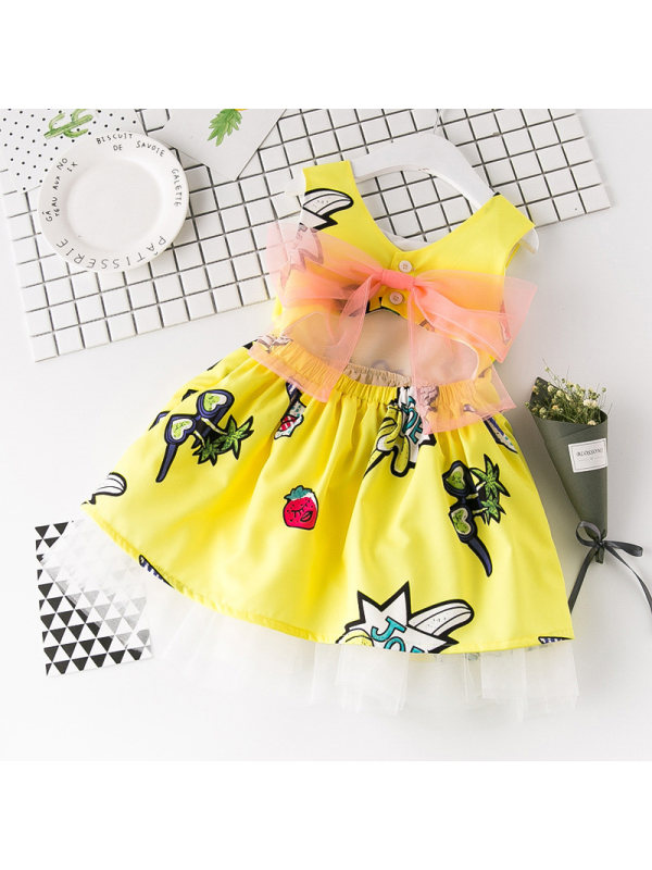 【18M-7Y】Girls Cute Cartoon Graffiti Bare-back Sleeveless Dress