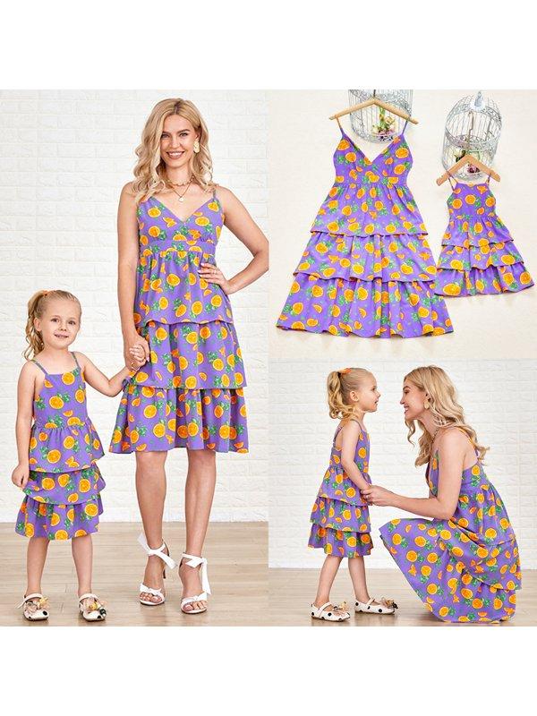 Purple Fruit Print Multi-layered Mom Girl Matching Dress