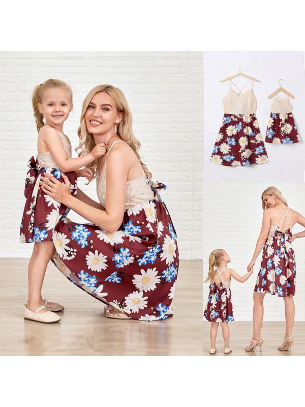 Khaki Lace Stitching Floral Sling Mom Girl Matching Dress - 1306