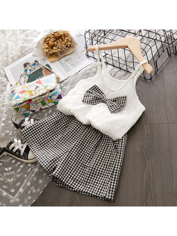 【18M-7Y】Girls Sweet Lace Camisole Top Houndstooth Shorts Suit